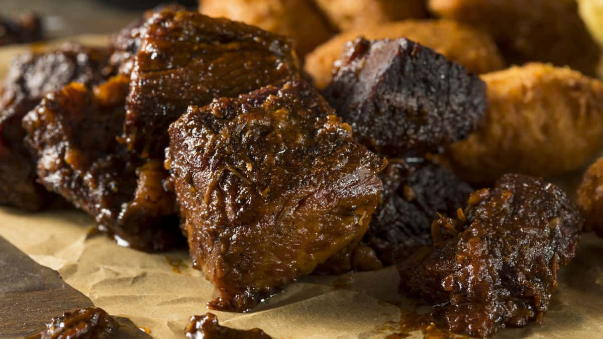 brisket burnt ends on butcher paper