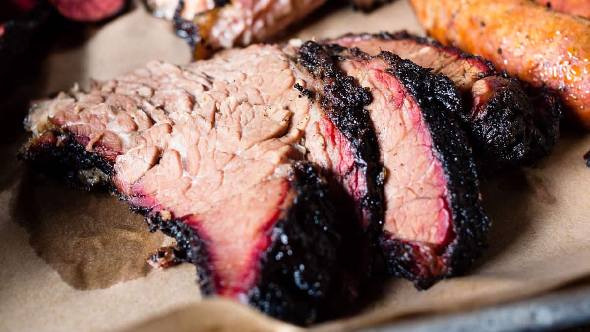 Close up of some moist, sliced smoked brisket