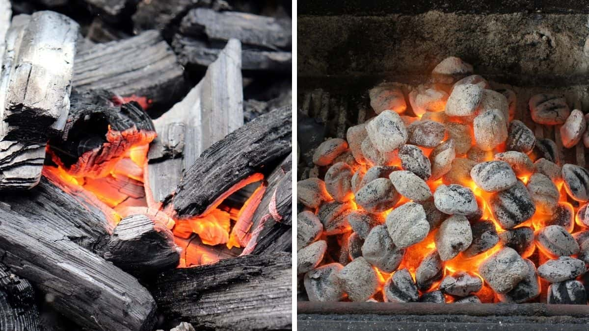 A photo each of lit lumpwood charcoal and briquettes side by side