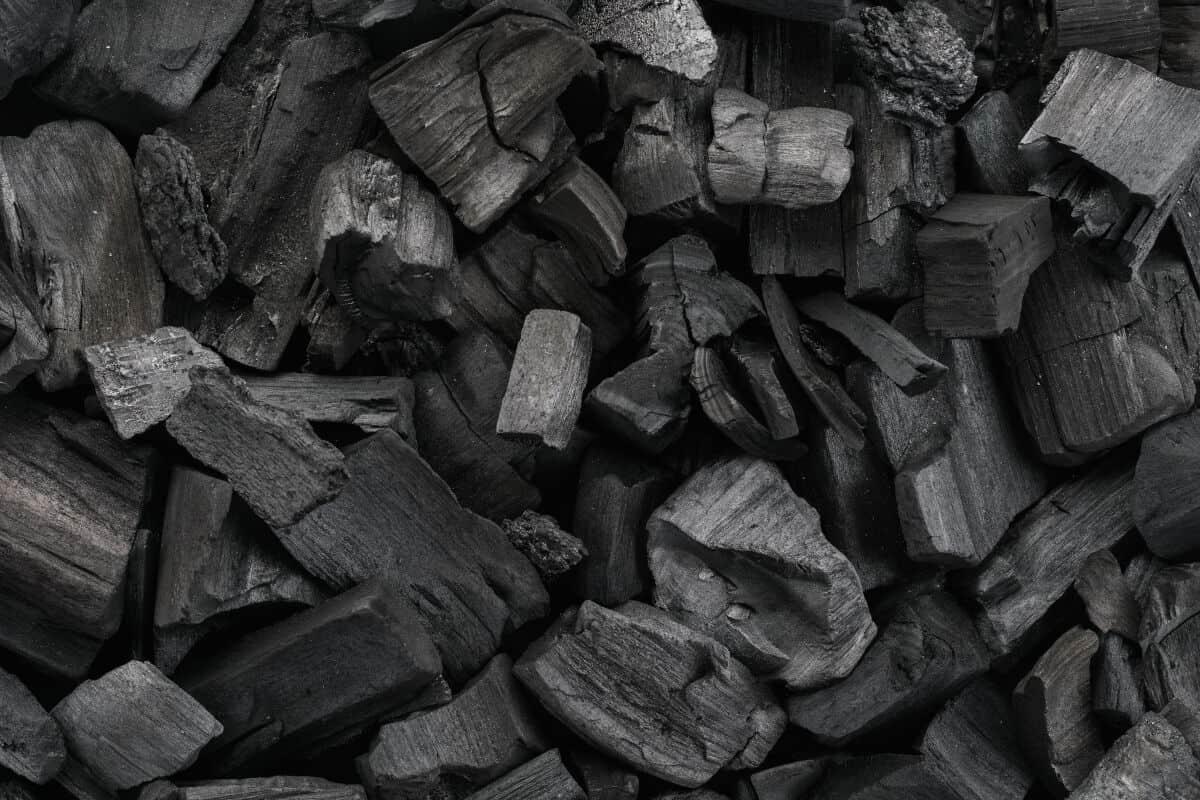 Close up of some unlit hardwood lump charcoal