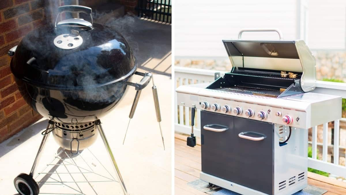A charcoal and gas grill, in two separate photos, side by side
