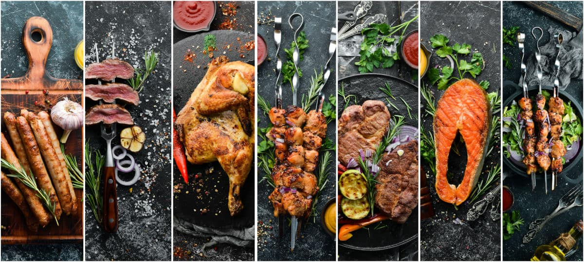 A collage of different grilled meats, veg and seafood