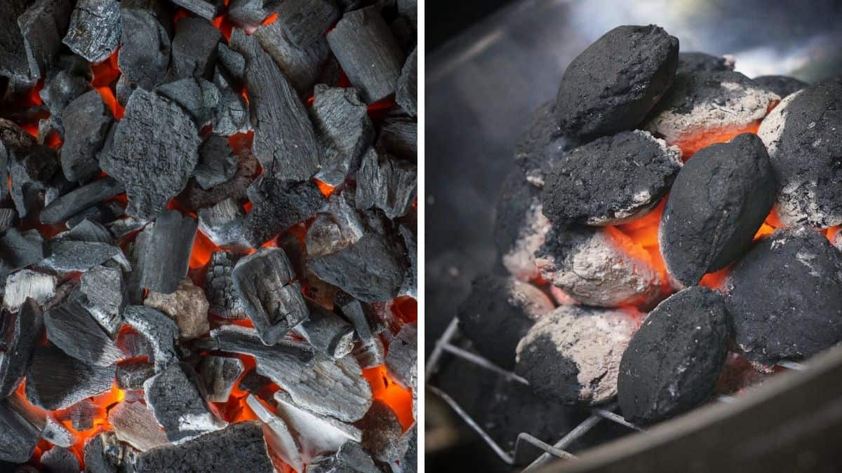 Lump charcoal and briquettes, side by side, lit and glowing red
