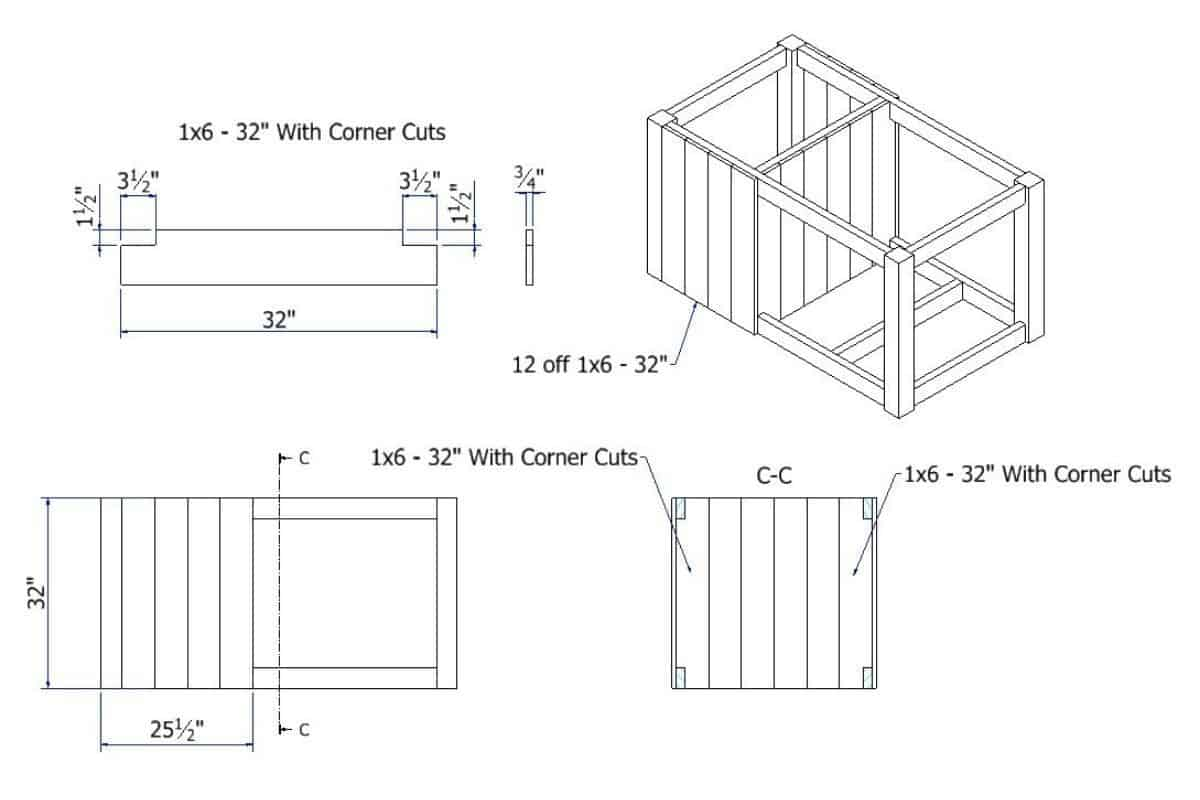 Blueprint with dimensions of the cupboard body