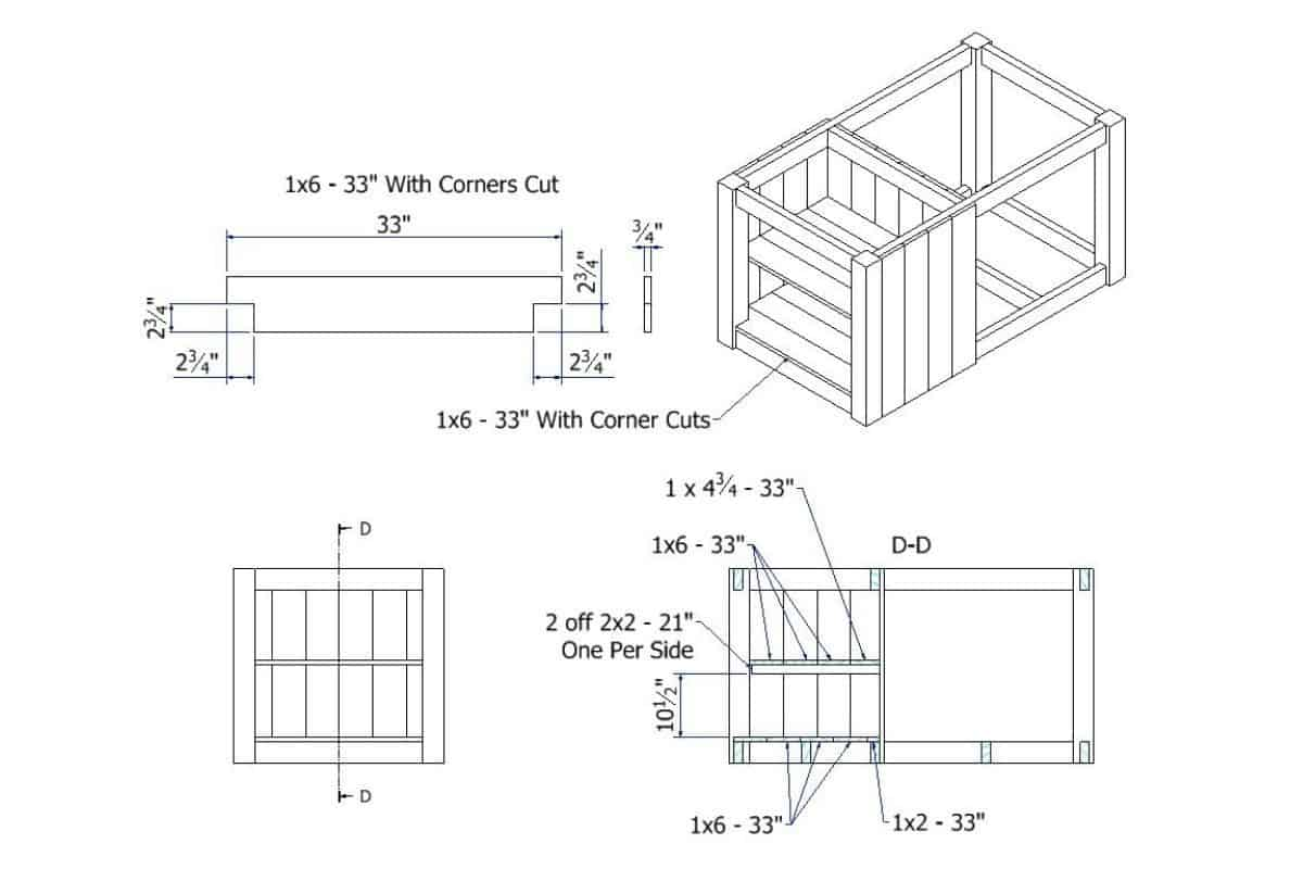 Cupboard Shelves blueprint with dimensions