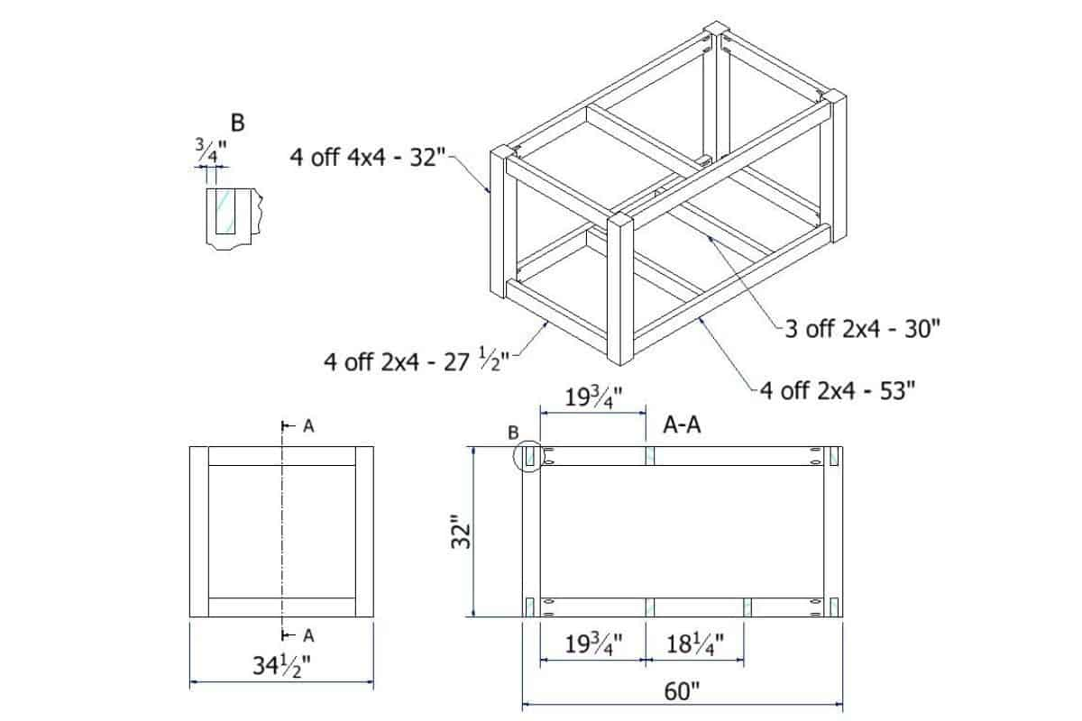 Frame Drawing blueprint image with dimensions