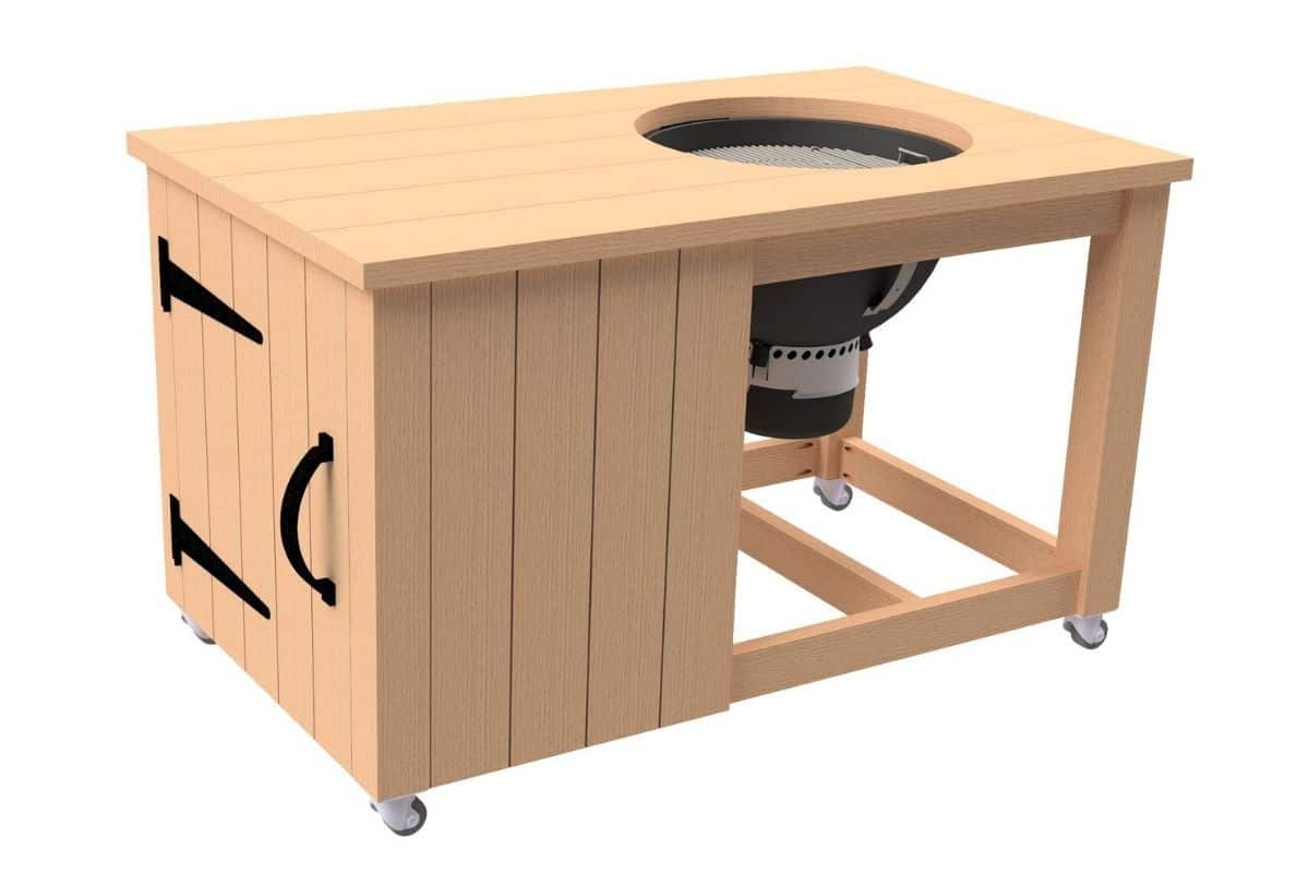 Image of Weber grill mounted in DIY wooden grill cart