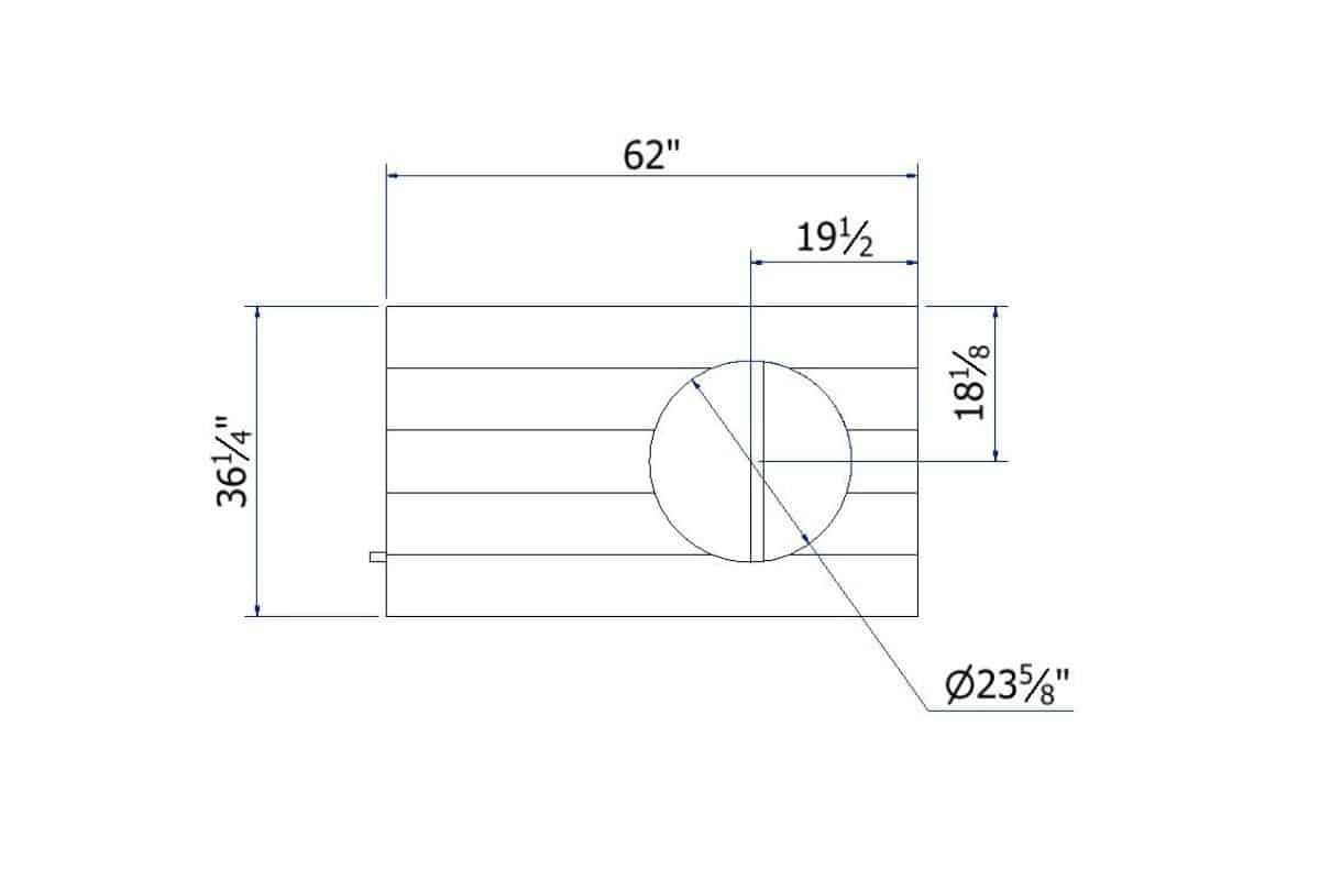 Worktop Cutout blueprint with dimensions